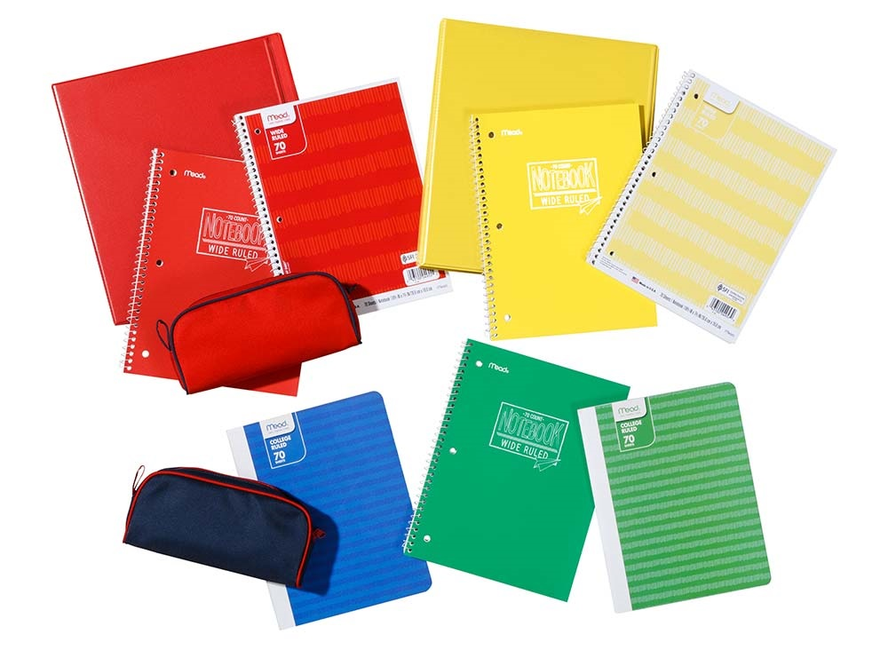 Assorted red, yellow, green and blue binders, notebooks and pencil cases